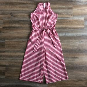 Red and white striped wide leg jumpsuit